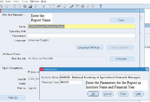 Running ICAR Revenue Receipt Report